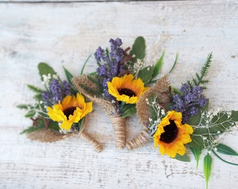 Sunflower Wedding Boutonniere, Sunflower Men Buttonhole, Rustic Woodland Boutonniere, Fall Wedding Accessory