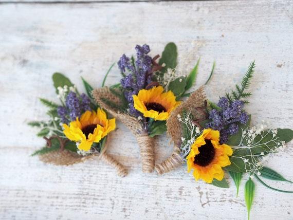Sunflower Wedding Boutonniere Sunflower Men Buttonhole