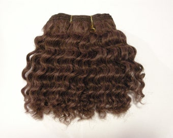 Mohair weft, Waldorf doll hair, Curly, Brown