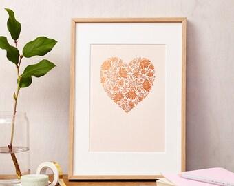 Copper Foil Floral Heart Love Print