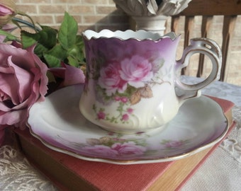 Lovely Lefton Tea Cup and Saucer Set with Beautiful Pink and Mauve Roses Hand Painted 1950s