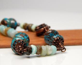 Copper bracelet, bohemian bracelet, peruvian opal jewelry, opal bracelet, teal jewelry, gift for her