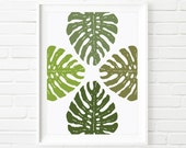 Four Split Leaf Philodendron Cluster Botanical Print, Nature Wall Art, Abstract Art, Tropical Design, Digital Download Printable