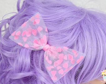 Pink Hair Clip, Girls Hair Bow, Tulle Hair Bow, Pink HairBow, Teen Hair bow, Toddler Hair Bow, Hair bows for Adults, Heart Hair Clip, Kawaii