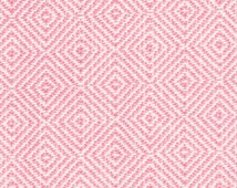 Pink Upholstery Fabric - Woven Geometric Pink Furniture Material - Pink White Headboard Fabric - Diamond Pillow Covers - Pink Cushions