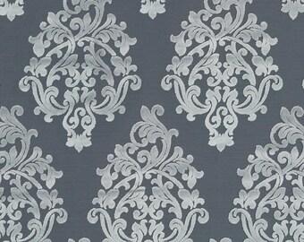 Dark Grey Damask Upholstery Fabric - Silver Grey Velvet for Furniture - Custom Charcoal Grey Velvet Pillow Cover - Velvet Damask Drapery