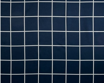 ON SALE - Navy Blue White Checked Plaid Upholstery Fabric