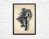 Fallout Poster | Brotherhood of Steel poster | watercolor print | Videogame art | Brotherhood poster | geek gift