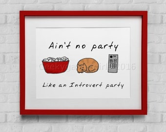 Introvert Party poster | Introvert funny poster | Hand drawn cat