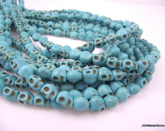 Turquoise Skull Beads, Dia De Los Muertos, Skull Beads, 8 x 7 x 6 mm, 16 Inch Strand, Whole Strand