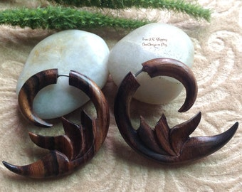 """Fake Gauge Earrings, """"Wooden Crescent"""" Natural, Sono Wood, Handcrafted, Tribal"""