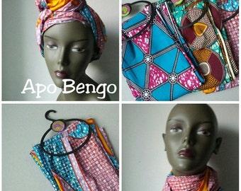 BANK HOLIDAY SALE Apo Bengo African Ankara print tribal chic neck head wrap scarf - blue pink orange - Summer 2016 - New