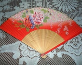 Vintage Red Hand Fan Carved Bamboo Wood Hand Painted Folding Fold Out 1950s 1960s Made in Japan Oriental Pink Cherry Blossoms Large Flowers