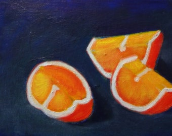 Chiaroscuro Oranges Original Oil Painting 5 x 7""