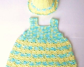 Hand Crocheted Spring Sky Baby dress with Matching hat