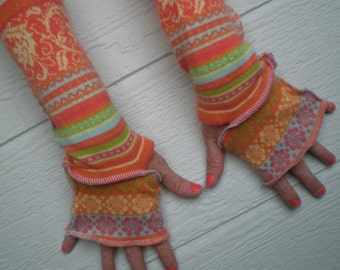 Fingerless gloves, armwarmers, handmade gloves, cotton and angora, 17 inch arm warmers, cute mitts, upcycled sweater