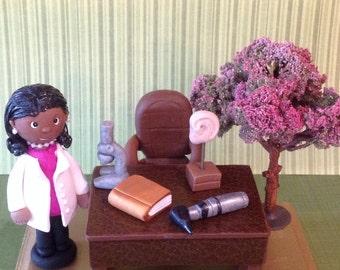 Custom polymer clay desk display. Ear doctor,cherry tree,microscope,Diorama,office display,