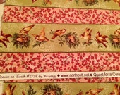 DESTASH Fabric - 30 in of Heaven on Earth #2759 by Ro Gregg for Northcott Quest for a Cure Birds, Nests, Eggs Pink & Green Quilting Cotton