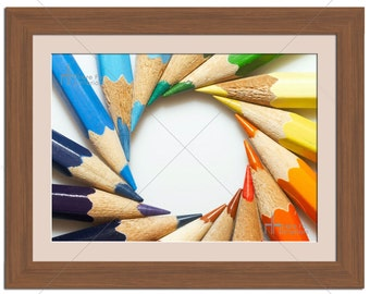 Coloured Pencils Spiral Circle Kids Photographic Print - Various Sizes - Gift Idea