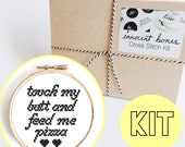 Touch My Butt And Feed Me Pizza Modern Cross Stitch Kit - chart design - rude funny DIY gift - x stitch sassy pizza quote embroidery kit