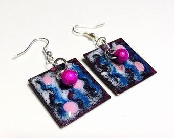 Enameled Earrings - Small square torch fired enamel boho chic dangle earrings