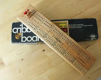 Vintage Lowe Two Player wood CRIBBAGE Board IOB 1968, model 1503, vintage wood cribbage board