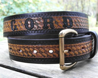 Personalized Leather Belt, Engraved Leather Name Belt, Hand Made Belt for Men, Men's Accessories