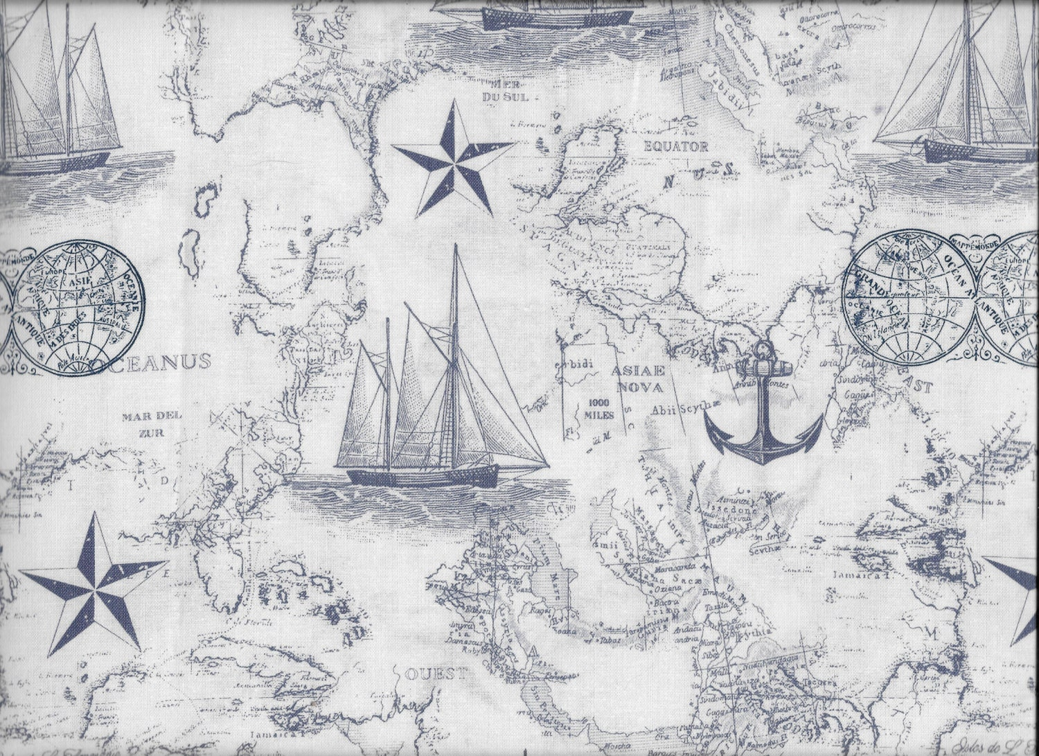 FABRIC-Navy Maritime Nautical Toile Fabric by the Yard-Quilt ... : toile quilting fabric - Adamdwight.com