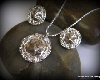 Recycled Silver, Ancient Greek Coin Style, Post Earring and Pendant Set, Gift, Free US Shipping, Sterling Silver Chain,