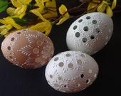 Polish Pysanky Eggs in Natural White, Green and Brown, Easter Eggs, Set of 3 Traditional Slavic Carved and Wax-Embossed Small Chicken Eggs