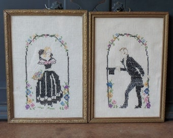 Vintage Victorian Framed Cross Stitch, Hand made, Lord & Lady, Set of 2, Wall Hanging, Home Decor