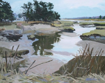 "STUDIO EVENT Winter Marsh, Biddeford Pool, Maine  24"" X 330"" original painting, oil on canvas by Adrienne Kernan LaVallee"
