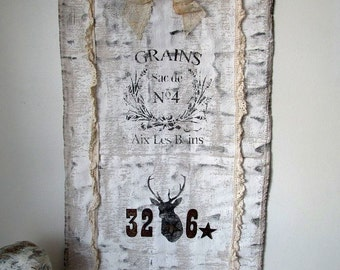 European farmhouse grain sack wall hanging French rustic woven feed bag stenciled embellished w/ grommets home decor anita spero design