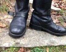 Vintage Black Leather Women's Men's Biker Boots Two Buckles John Timpson Made in UK Size UK 6