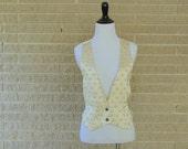 Vintage Vest |1980s | Ivory Waistcoat Vest | Medium