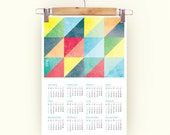 Calendar 2016 triangles grunge textures color retro Poster Print Calendar bright pastel colors A3 size 2016 Calendar triangles 2016