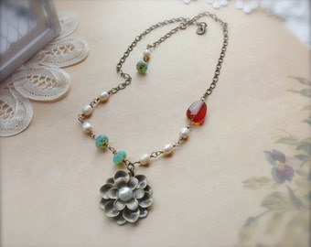 Romantic Necklace, Vintage Assemblage Necklace, Flower Necklace, Freshwater Pearls and Crystal Jewelry, Shabby Chic, Czech Glass*DAISEYLYNN*