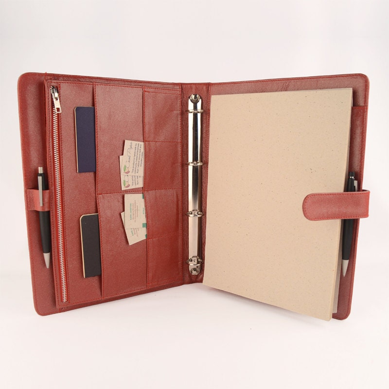 A4 Original Classic Leather Ring Binder Planner / By