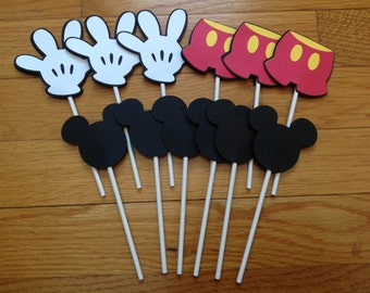 12 Disney MICKEY MOUSE Parts Pants & Hands Cupcake Toppers