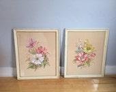 FREE SHIPPING! Set of vintage original watercolor paintings, vintage watercolor flower paintings