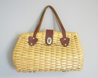 Vintage PICNIC STRAW HANDBAG/Top Handle Bag/Straw Bag/Wicker Purse