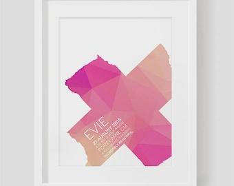 A4 Custom Birth Print - Pink Polygons