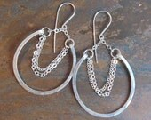 Extra Lucky & Large Fused Fine Silver Horseshoes on handmade sterling silver earwires