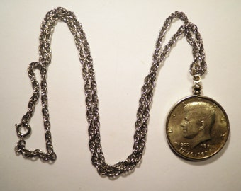 "1 Kennedy Half Dollar 24"" Silver Plated Necklace with Half Dollar"