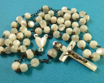 Antique  Mother of pearl  French rosary chaplet  five decades Vintage religious  jewelry O1