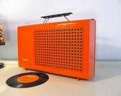 Vintage Record Player, Retro Rare PHILIPS Type 523 Vinyl lp Working Portable Record Player 33,45,78 rpm Orange Philips  22GF523  70s