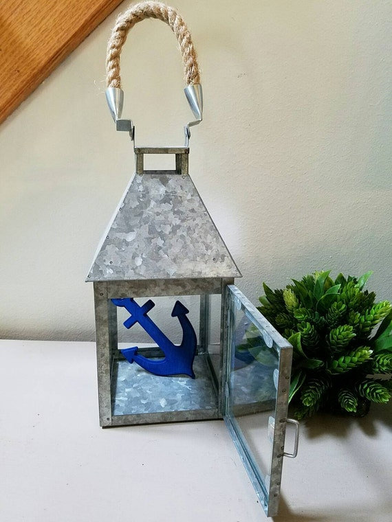 Items similar to galvanized metal lantern candle holder for Beach house decor items