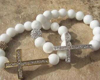 Jade Cross Bracelet. Sideways Cross. Silver Cross. Side Cross Bracelet. Spiritual Jewelry. Cross Bangle.