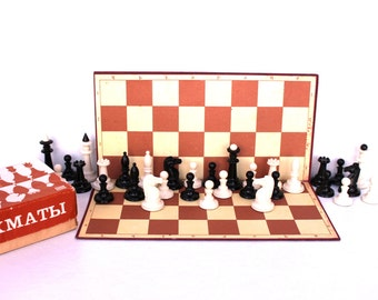 Soviet chess set Russian chess Vintage chess full set Chess game Large Soviet chess Tactical game Strategy game Bakelite figurines chess