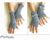 Knitted Grey Fingerless Arm Warmers Gloves Womens Fingerless Mittens Lace Gloves.